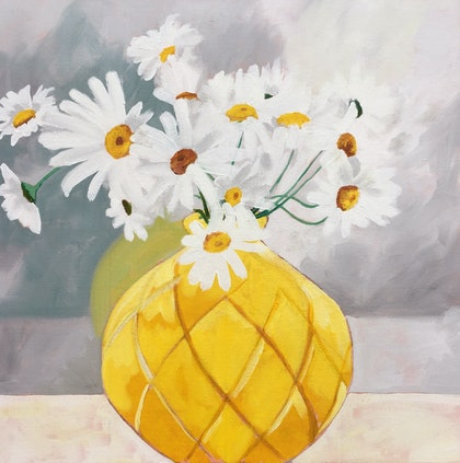 (CreativeWork) 'The yellow vase' by Sandra Jenkins. oil-painting. Shop online at Bluethumb.