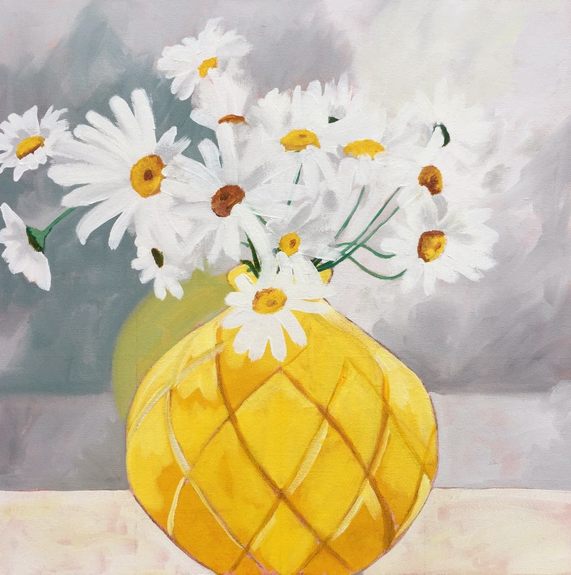 The Yellow Vase By Sandra Jenkins Paintings For Sale Bluethumb