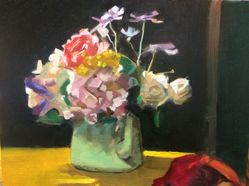 (CreativeWork) Floral with green tea urn by Ray Wilson. oil-painting. Shop online at Bluethumb.