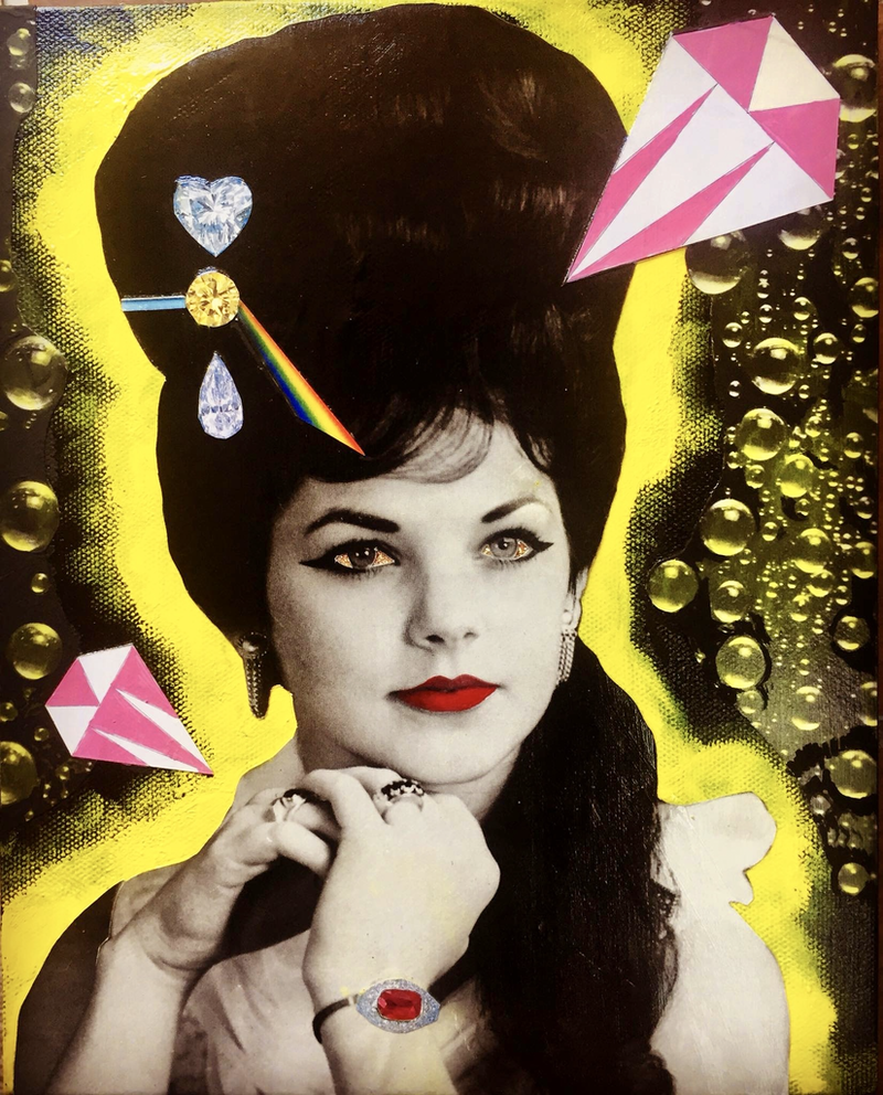 (CreativeWork) Priscilla with yellow aura  by Kelly Sullivan. mixed-media. Shop online at Bluethumb.