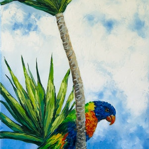 (CreativeWork) Somewhere in the clouds. Rainbow lorikeet by Irina Redine. oil-painting. Shop online at Bluethumb.