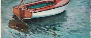 (CreativeWork) Lonely boat by Yuan Fu. oil-painting. Shop online at Bluethumb.