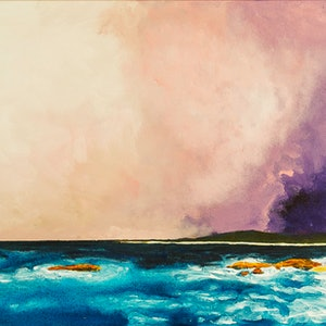 (CreativeWork) Storm Over The Bay (Trial Bay , South West Rocks ) by scott jackson. mixed-media. Shop online at Bluethumb.