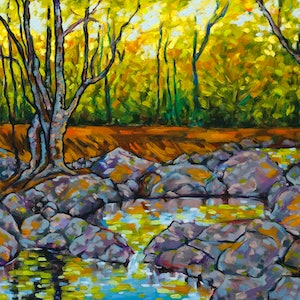 (CreativeWork) Where Nature Charms and Whispers by Judi Parkinson. oil-painting. Shop online at Bluethumb.