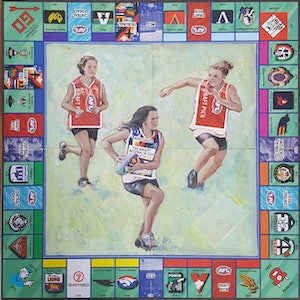 (CreativeWork) New Draft Picks - football monopoly game  by Sherry McCourt. mixed-media. Shop online at Bluethumb.