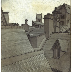(CreativeWork) Rooftops, Mont Saint Michel Ed. 1 of 12 by Damon Kowarsky. print. Shop online at Bluethumb.