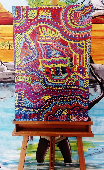 (CreativeWork) Heartbeat of the Land - Murrendi Merram by Tania Ault. arcylic-painting. Shop online at Bluethumb.