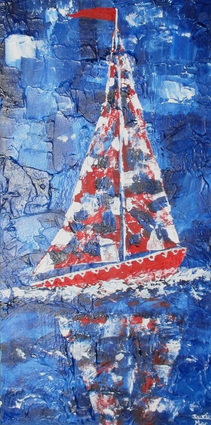(CreativeWork) Sail the Blue by Susie Mac. mixed-media. Shop online at Bluethumb.