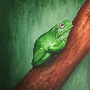 (CreativeWork) Green Tree Frog by Jessica Thomas. arcylic-painting. Shop online at Bluethumb.