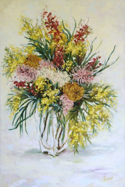 (CreativeWork) Australian Native Flowers from My Garden by Judi Parkinson. oil-painting. Shop online at Bluethumb.