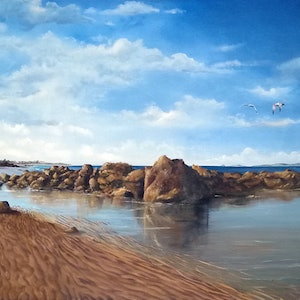 (CreativeWork) Yepoon with Great Keppell Island by Rhonda Armistead. oil-painting. Shop online at Bluethumb.