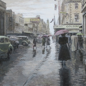 (CreativeWork) Rainy Day in Elizabeth Street, Hobart c.1958 by Michael Bessell. acrylic-painting. Shop online at Bluethumb.