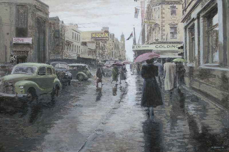 (CreativeWork) Rainy Day in Elizabeth Street, Hobart c.1958 by Michael Bessell. arcylic-painting. Shop online at Bluethumb.