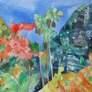 (CreativeWork) Tropical Hills  by John Graham. mixed-media. Shop online at Bluethumb.