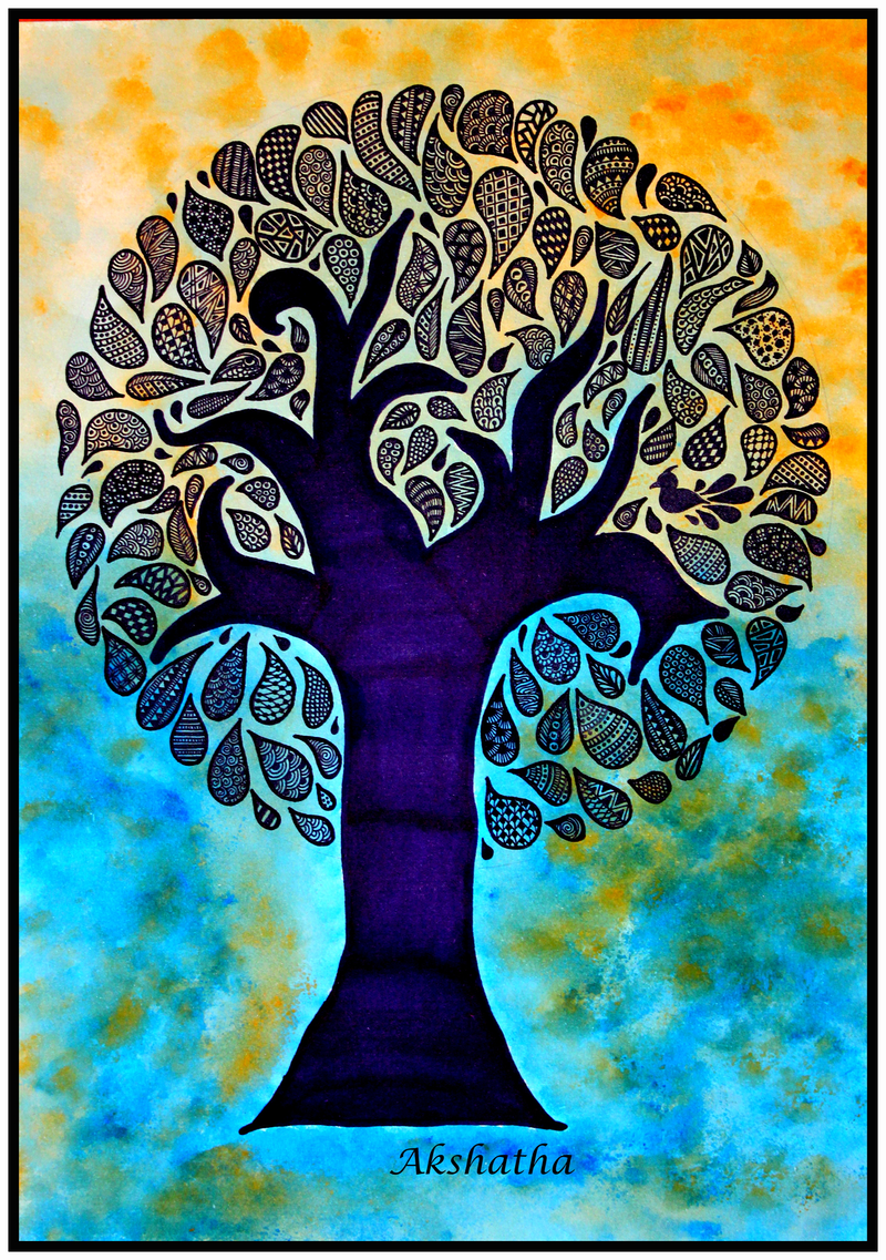 (CreativeWork) Be like a tree, stay grounded with the roots of your family, Zentangle art print Ed. 10 of 10 Ed. 10 of 10 by Akshatha Ajay. print. Shop online at Bluethumb.