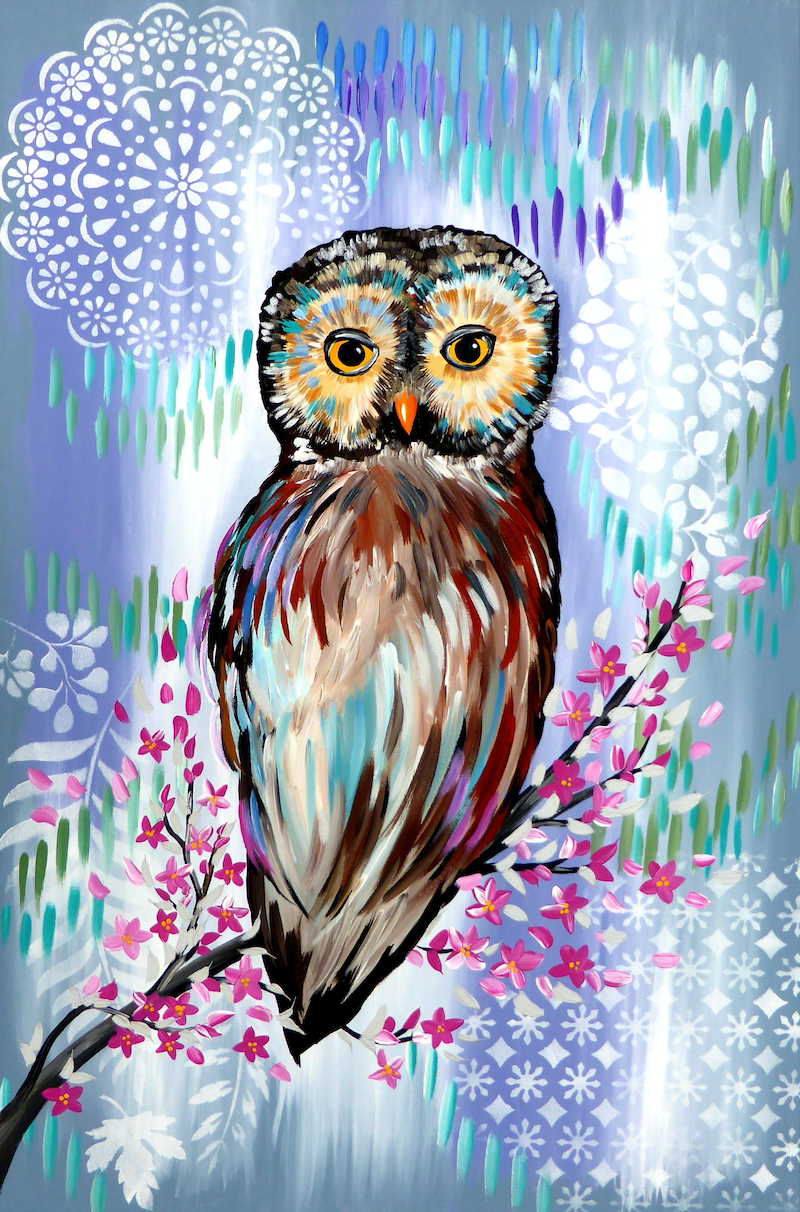 (CreativeWork) Owl by Mark Humphries. arcylic-painting. Shop online at Bluethumb.