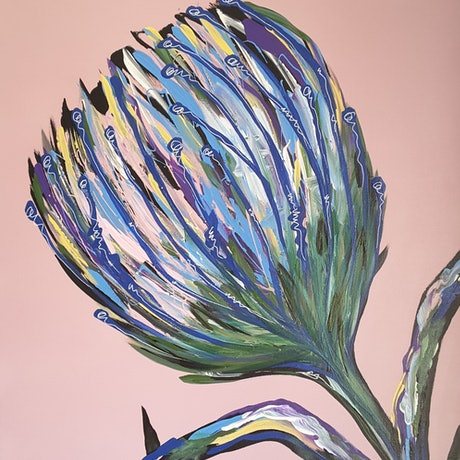 (CreativeWork) Protea on Pink by Karen McKenzie. Acrylic Paint. Shop online at Bluethumb.