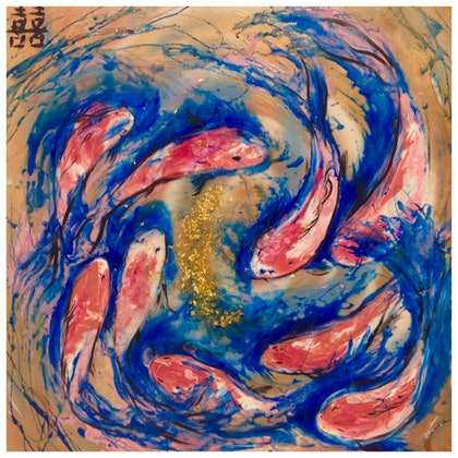 Double Luck Koi Fish .  Original Abstract Chinese Fish Artwork. Commission 120cm