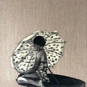 (CreativeWork) Vintage shade by Holly Harper. oil-painting. Shop online at Bluethumb.