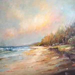 (CreativeWork) Autumn feel at the beach #2 by Liliana Gigovic. oil-painting. Shop online at Bluethumb.