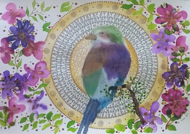 (CreativeWork) Lilac breasted Roller  by Annarine Chapman MAHINA ARTS. watercolour. Shop online at Bluethumb.