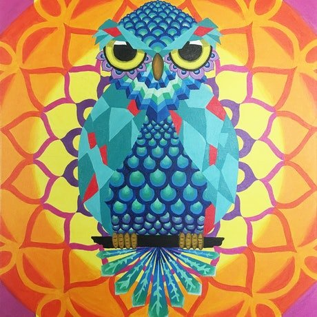 (CreativeWork) SUNSET OWL by Linda Browne. Acrylic Paint. Shop online at Bluethumb.
