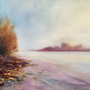 (CreativeWork) The River In the Morning by Lucinda Leveille. oil-painting. Shop online at Bluethumb.