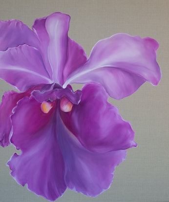 (CreativeWork) Orchid by dorryce rock. Oil Paint. Shop online at Bluethumb.