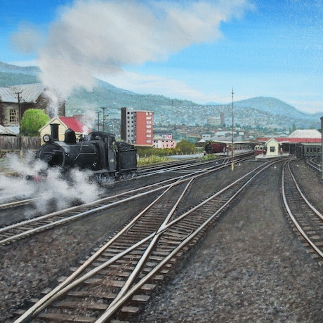 (CreativeWork) At Hobart Railway Station by Michael Bessell. Oil Paint. Shop online at Bluethumb.