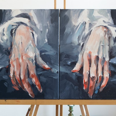 (CreativeWork) Self Portrait with Hands (Tribute to F.Hals) by Tony Belobrajdic. Oil Paint. Shop online at Bluethumb.