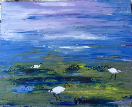 (CreativeWork) Wandering free Ibis .  by Ruth Bye. arcylic-painting. Shop online at Bluethumb.