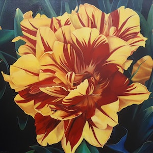 (CreativeWork) Parrot Tulip : close #2 by Karena Wynn-Moylan. oil-painting. Shop online at Bluethumb.