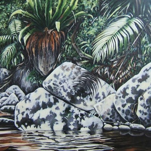 (CreativeWork) Cool Respite - Minyon Falls by Karena Wynn-Moylan. oil-painting. Shop online at Bluethumb.