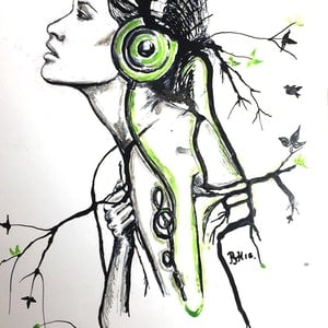 (CreativeWork) Music is life ! by Phil Herbison. drawing. Shop online at Bluethumb.