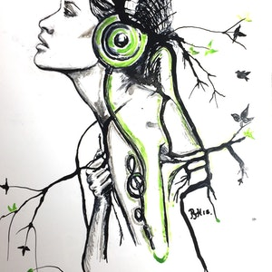 (CreativeWork) Music is life  by Phil Herbison. drawing. Shop online at Bluethumb.