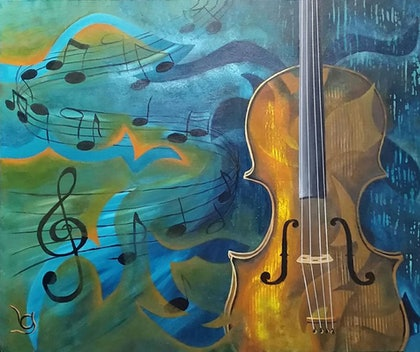 """(CreativeWork) """"LOVE IS THE MUSIC"""" by Lynne Gehrke. arcylic-painting. Shop online at Bluethumb."""
