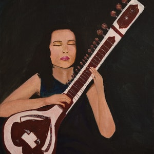 (CreativeWork) Portraiture of a Sitar Player by Chandana Manjunath. arcylic-painting. Shop online at Bluethumb.