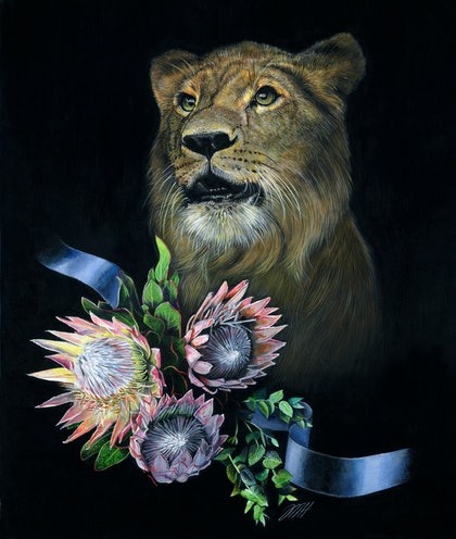 (CreativeWork) Fortune favours the brave by Melissa Hartley. arcylic-painting. Shop online at Bluethumb.