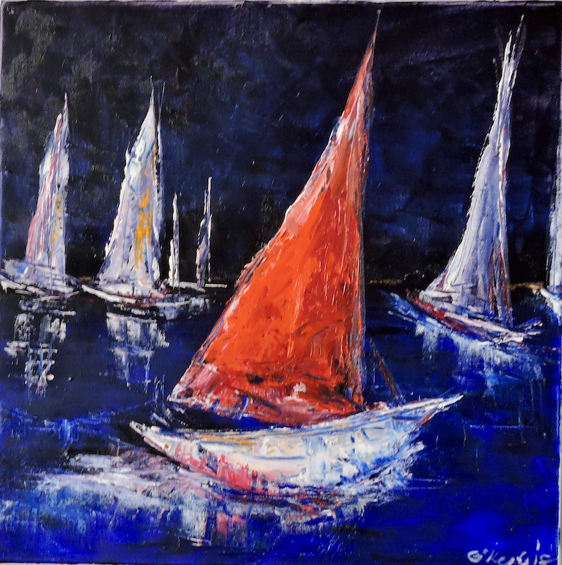 (CreativeWork) Twilight Sailing  by Noela O'Keefe. oil-painting. Shop online at Bluethumb.