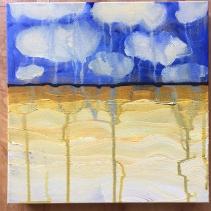 (CreativeWork) Thin Line 11 by Kitty Berton. Acrylic Paint. Shop online at Bluethumb.