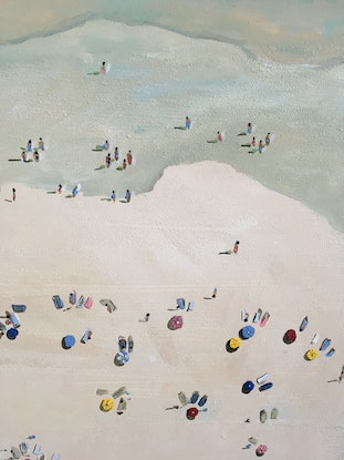 (CreativeWork) Beach Day by Meredith Howse. Oil Paint. Shop online at Bluethumb.