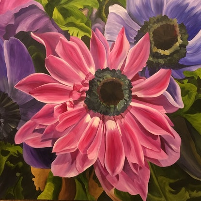 (CreativeWork) A Cluster of Anemones by Linda McGowan. Acrylic Paint. Shop online at Bluethumb.