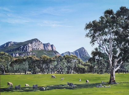 (CreativeWork) The Grampians, Vic by M.A. Hobbs. oil-painting. Shop online at Bluethumb.