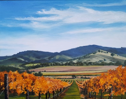 (CreativeWork) Autumn in the Yarra Valley, Vic by M.A. Hobbs. oil-painting. Shop online at Bluethumb.