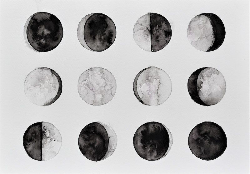 12 Moon Phases in Ink