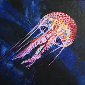 (CreativeWork) Deep Water Jellyfish  by Brianna Yokom. arcylic-painting. Shop online at Bluethumb.