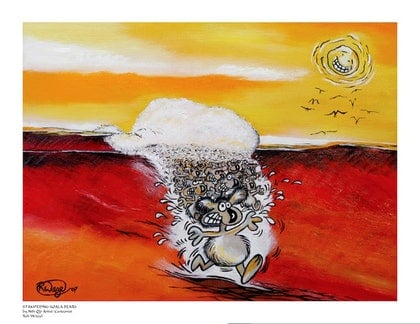 (CreativeWork) Stampeding Koala Bears by Robert Wiezel. oil-painting. Shop online at Bluethumb.