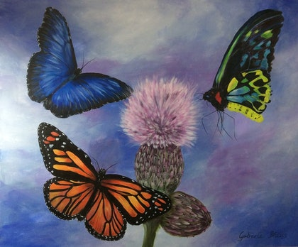 (CreativeWork) Joyful Butterflies by Gabriele Phillis. arcylic-painting. Shop online at Bluethumb.