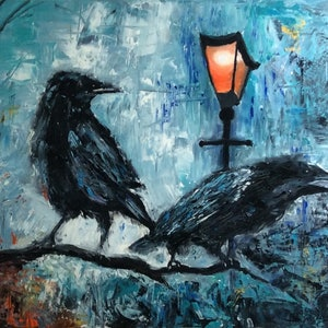 (CreativeWork) Ravens Nightwatch by Gabriele Phillis. oil-painting. Shop online at Bluethumb.