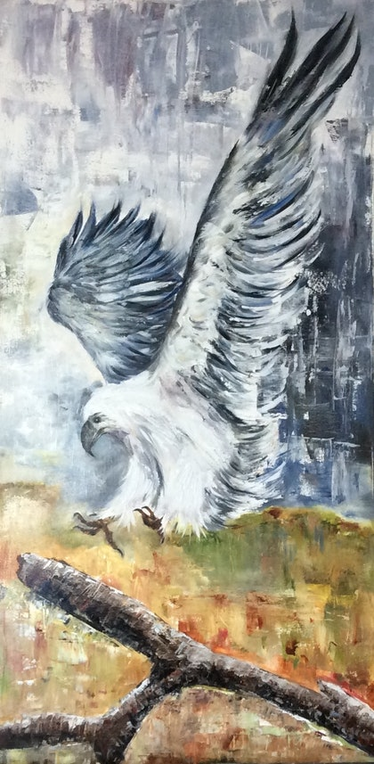 (CreativeWork) White Eagle by Gabriele Phillis. oil-painting. Shop online at Bluethumb.